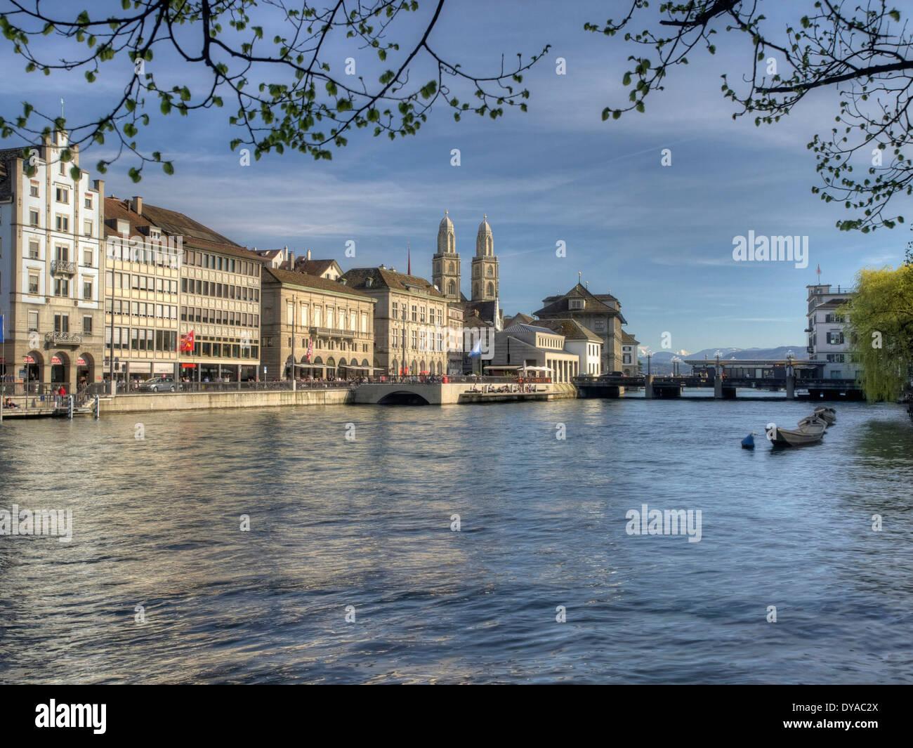 Zurich, Switzerland, Europe, boats, spring, Limmat, limmatquai, bridge, schipfe, water, Weidling, - Stock Image