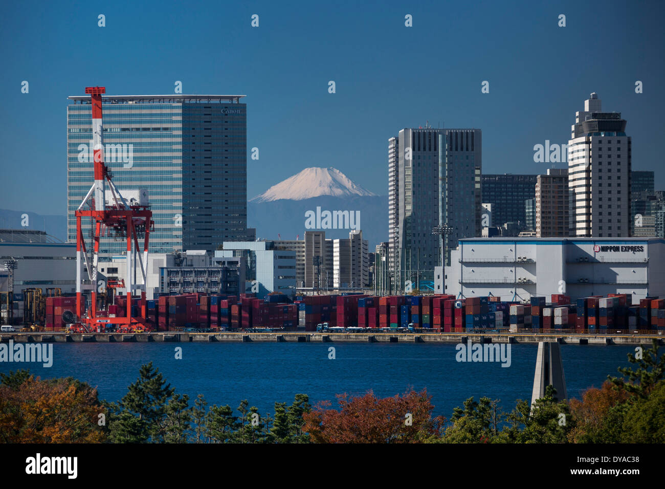 Japan, Asia, Tokyo, City, bay, containers, crane, Fuji, harbour, mount, mount Fuji, - Stock Image