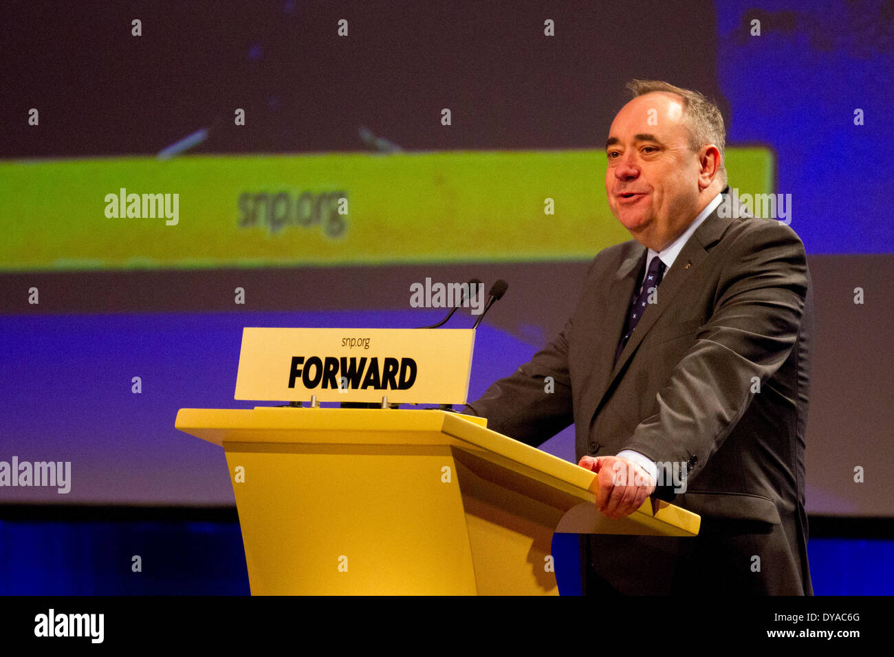 SNP political conference Aberdeen,  Scotland, UK Friday 11th April, 2014. Forward with Mr Alex Salmond MSP, Party Leader  speaking at the SNP Spring Conference at the Exhibition and Conference Centre (AECC). This is the last formal gathering before the referendum on September 18th campaigning for a Yes vote for Scotland's independence.  The conference, marking the 80th Anniversary of the formation of the party,  follows the publication of 'Scotland's Future, a detailed blueprint for an Scottish National Party Government to deliver using the new powers. - Stock Image