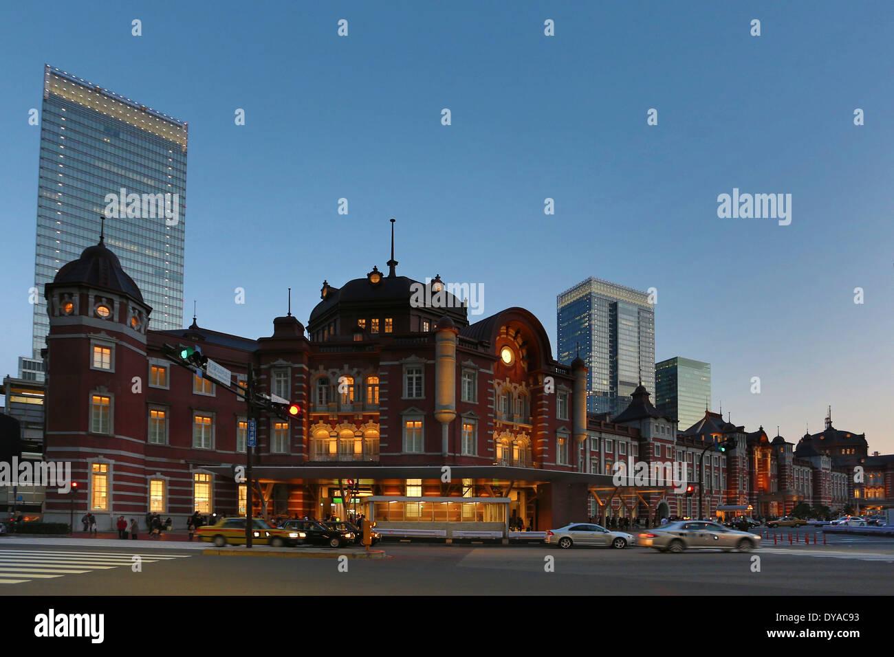 Japan, Asia, Tokyo, North, architecture, ceiling, city, landmark, hall, history, renewed, station, sunset, touristic, travel - Stock Image
