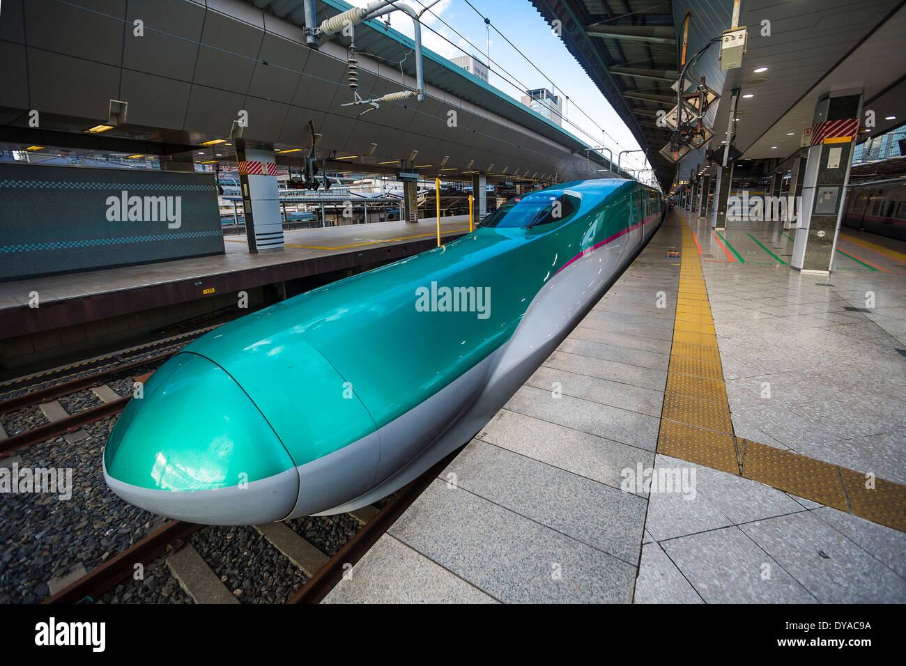 Japan, Asia, Tokyo, Hayabusa, bullet, Bullet train, high speed, city, design, fast, futuristic, green, new, station, Stock Photo