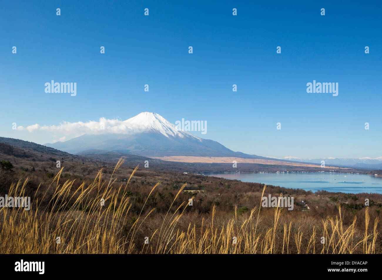 Japan, Asia, Lake Yamanaka, Yamanaka, clear, Fuji, lake, mount, panorama, snow, touristic, travel - Stock Image