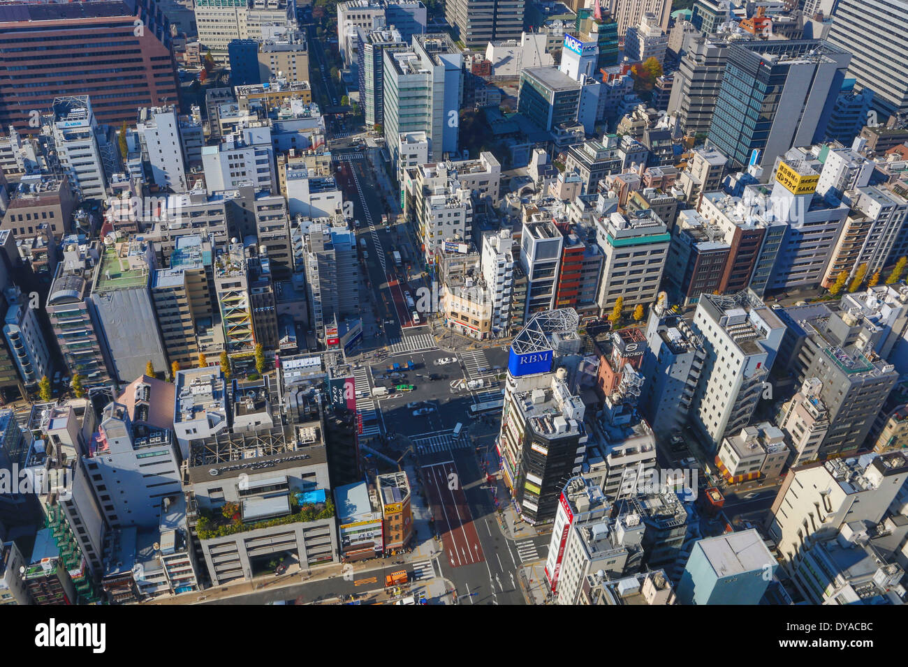 Japan, Asia, Tokyo, City, Daimon, Minato Ku, aerial, architecture, city, crossing, perspective, travel, urban Stock Photo