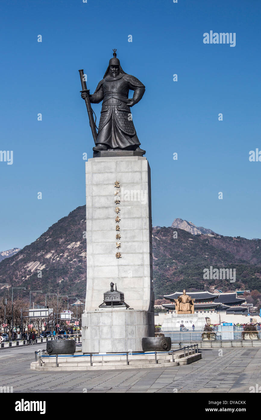 World Heritage, Korea, Asia, Seoul, admiral, Yi Sun Shin, architecture, bronze, city, history, statue, touristic, travel, unesco - Stock Image
