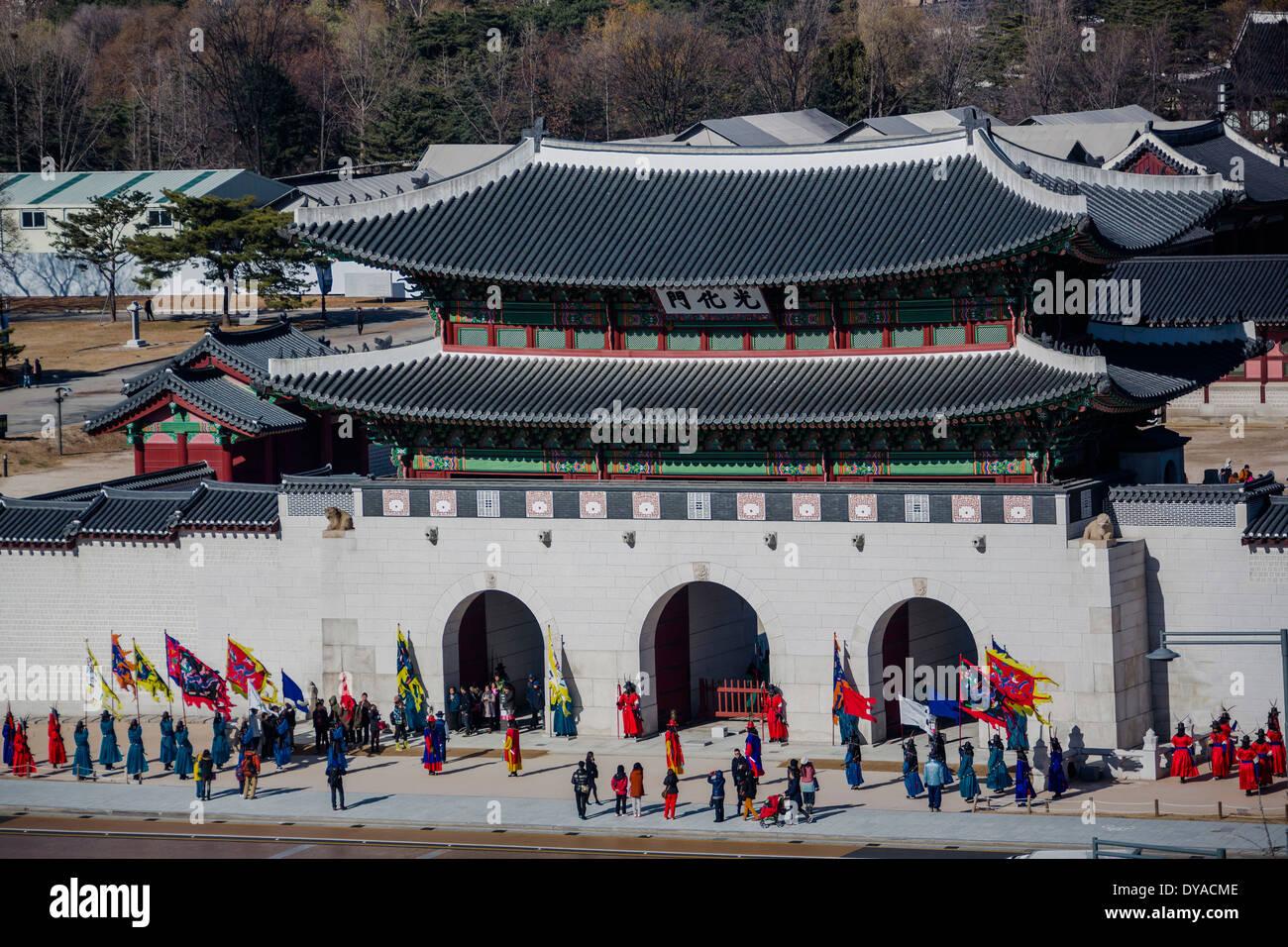 World Heritage Gwangwha-mun Korea Asia Kyongbok Palace Parade Seoul aerial architecture city colourful entrance landmark gat - Stock Image