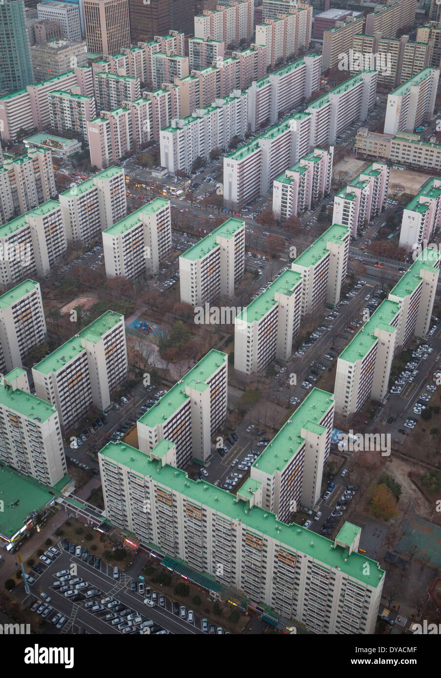 Korea Asia Seoul Yeouido aerial apartments architecture blocks city colourful geometry order panorama planning roofs sunset - Stock Image