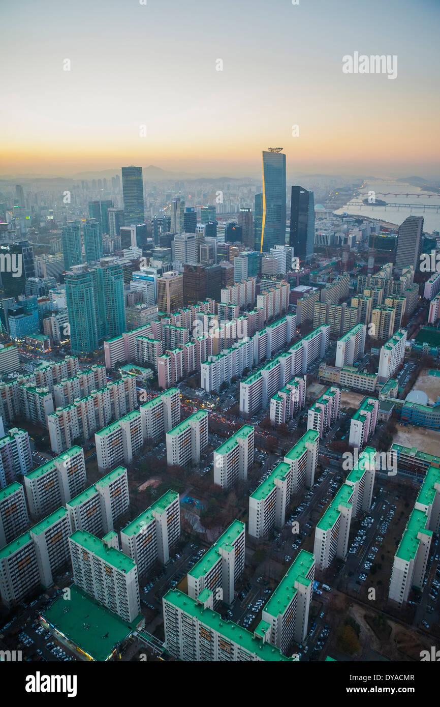 Korea Asia Seoul Yeouido aerial apartments architecture blocks center city colourful financial geometry international order, - Stock Image