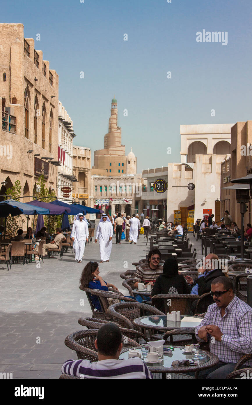 Doha Islamic Culture Qatar Middle East Souk Wakif architecture cafe center city market old pedestrian people terrace Stock Photo