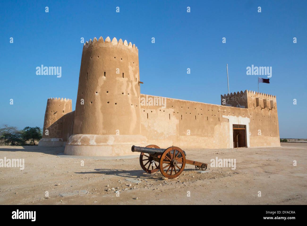 gun fortification World Heritage Al Zubarah Qatar Middle East architecture canon landmark fort history museum site travel un - Stock Image