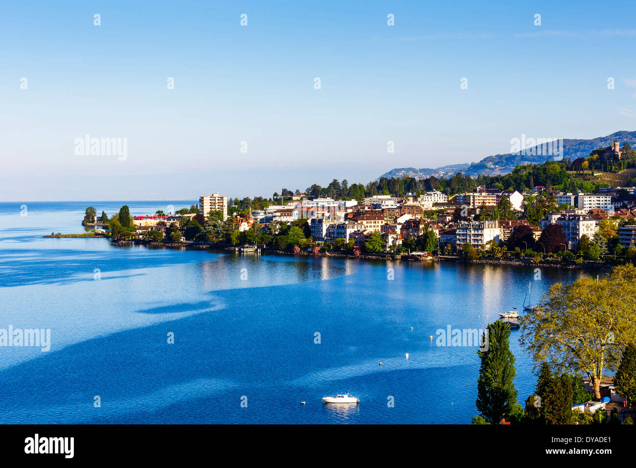 Aerial view of buildings from Montreux - Stock Image