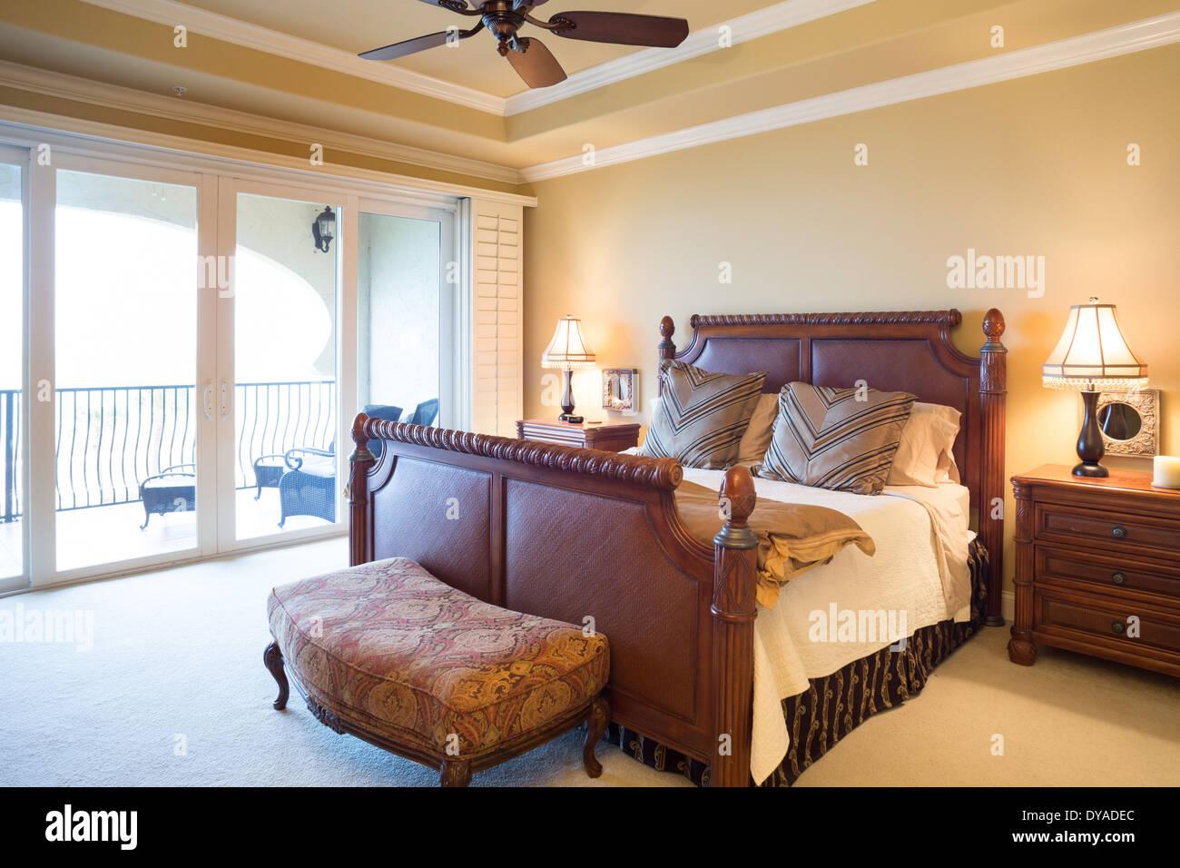 Luxury Master Bedroom With Sliding Glass Doors To Balcony Usa Stock Photo Alamy