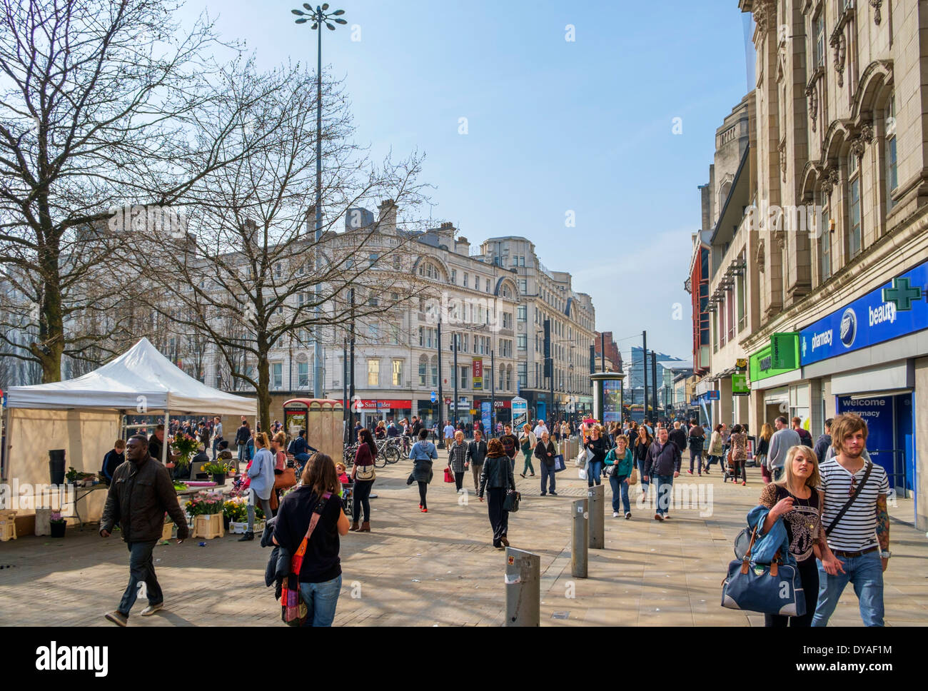 View down Market Street from Piccadilly Gardens in the city centre, Manchestrer, England, UK - Stock Image