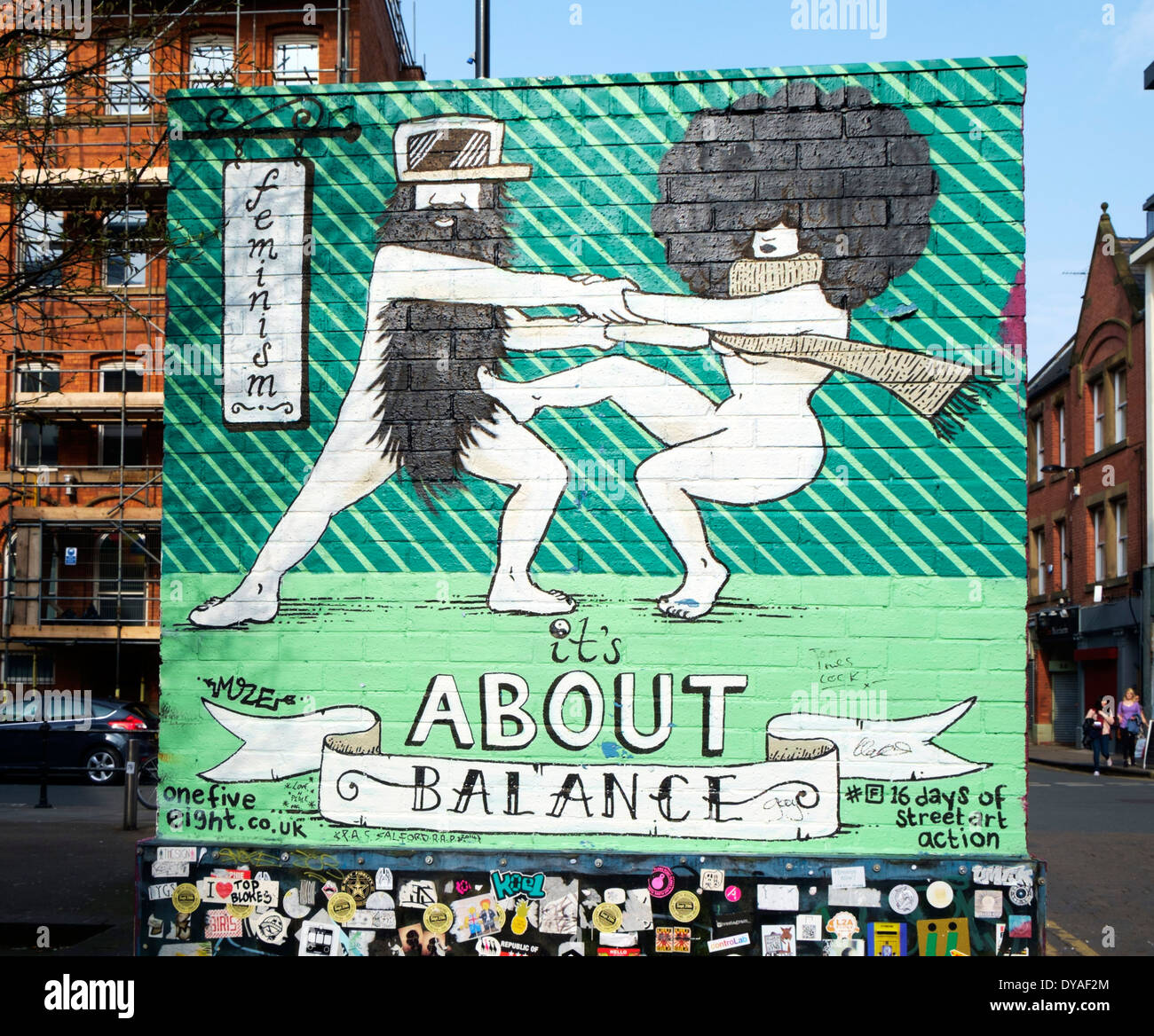 Mural about feminist action in the Northern Quarter, Manchester, England, UK - Stock Image