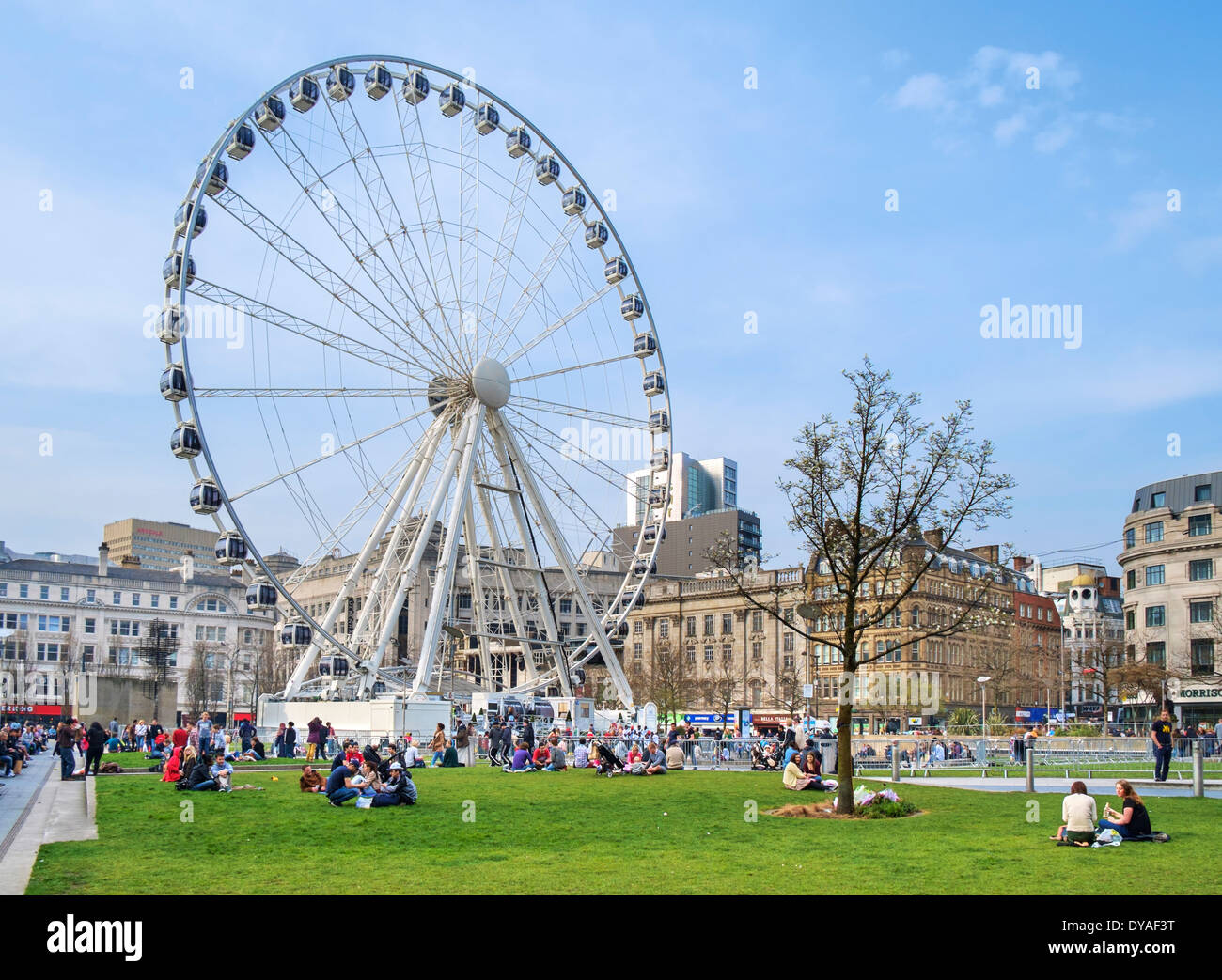 The Wheel of Manchester, Piccadilly Gardens, Manchester, England, UK - Stock Image