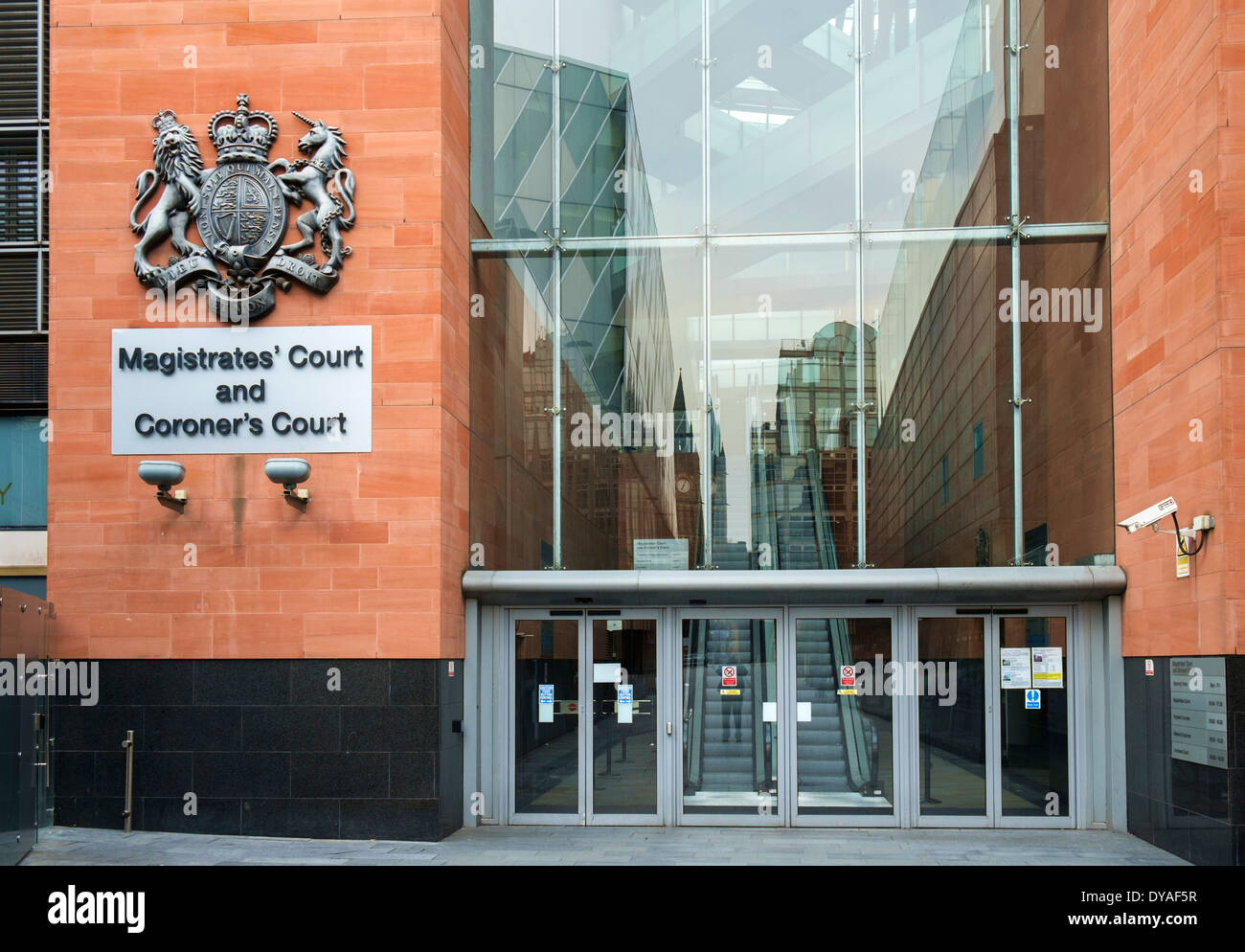 Magistrates' Court and Coroner's Court, Crown Square, Manchester, England, UK - Stock Image