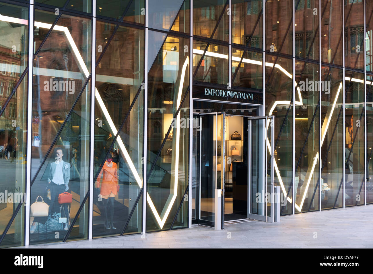 Emporio Armani store on Spinningfields Square, off Deansgate, Manchester, England, UK - Stock Image