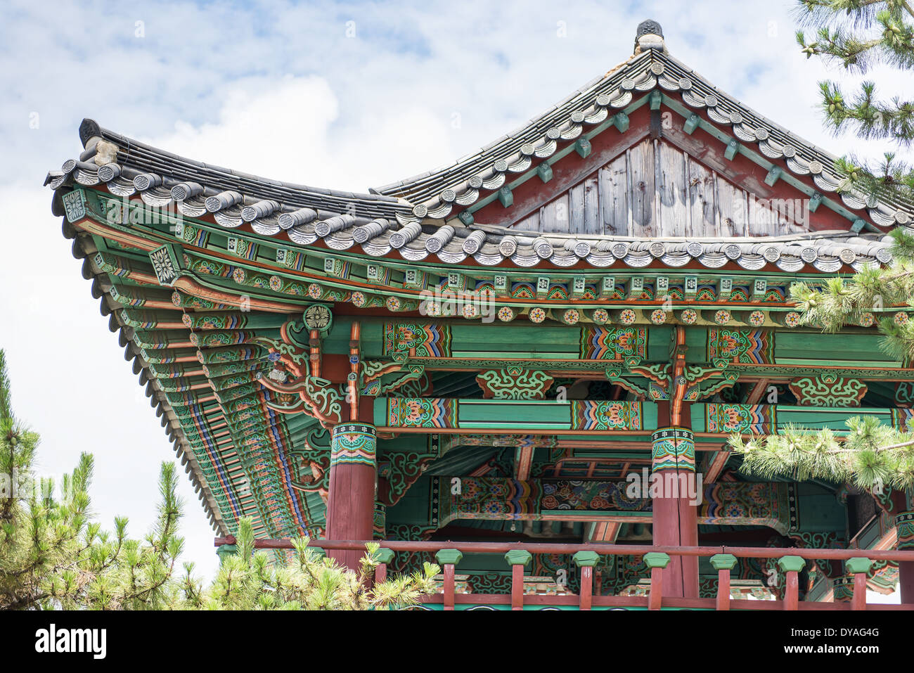 Jinnamgwan Hall an old naval base with colorful wooden structures in Yeosu, South Korea - Stock Image
