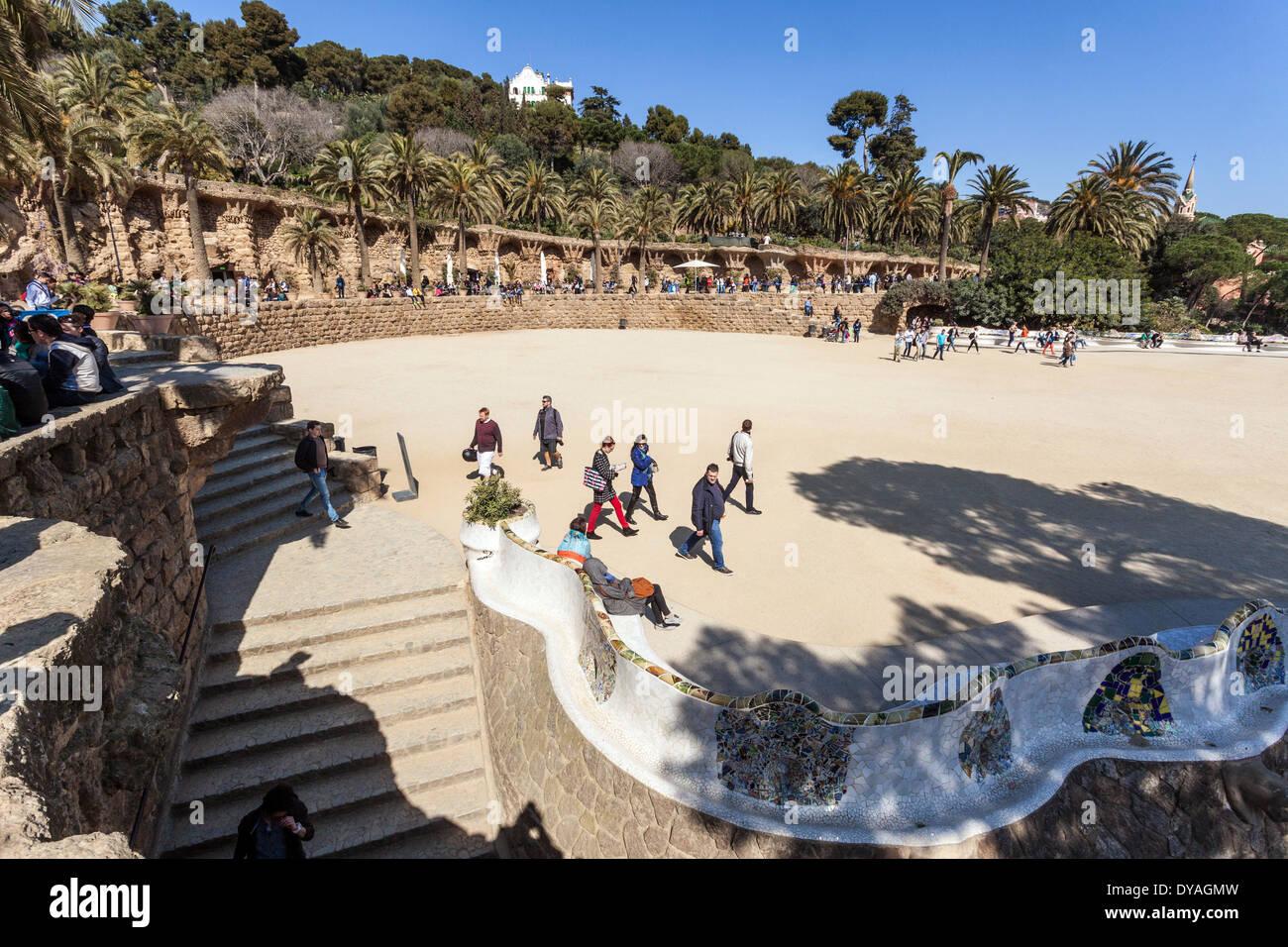 Plaza de la Naturaleza, Parc Güell, Barcelona Spain. Stock Photo