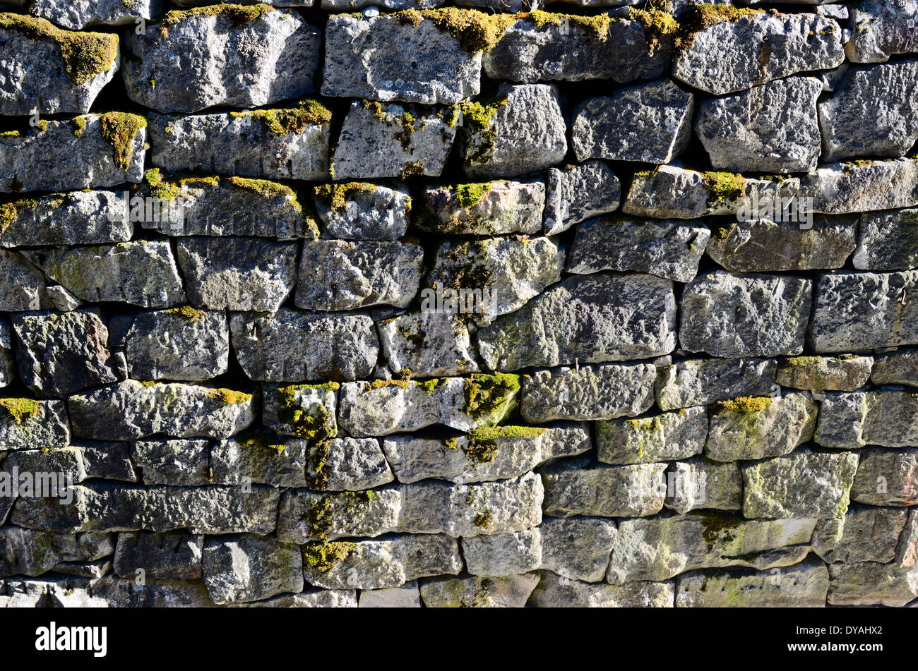 ancient granite stone wall channel mossy, horizontal - Stock Image