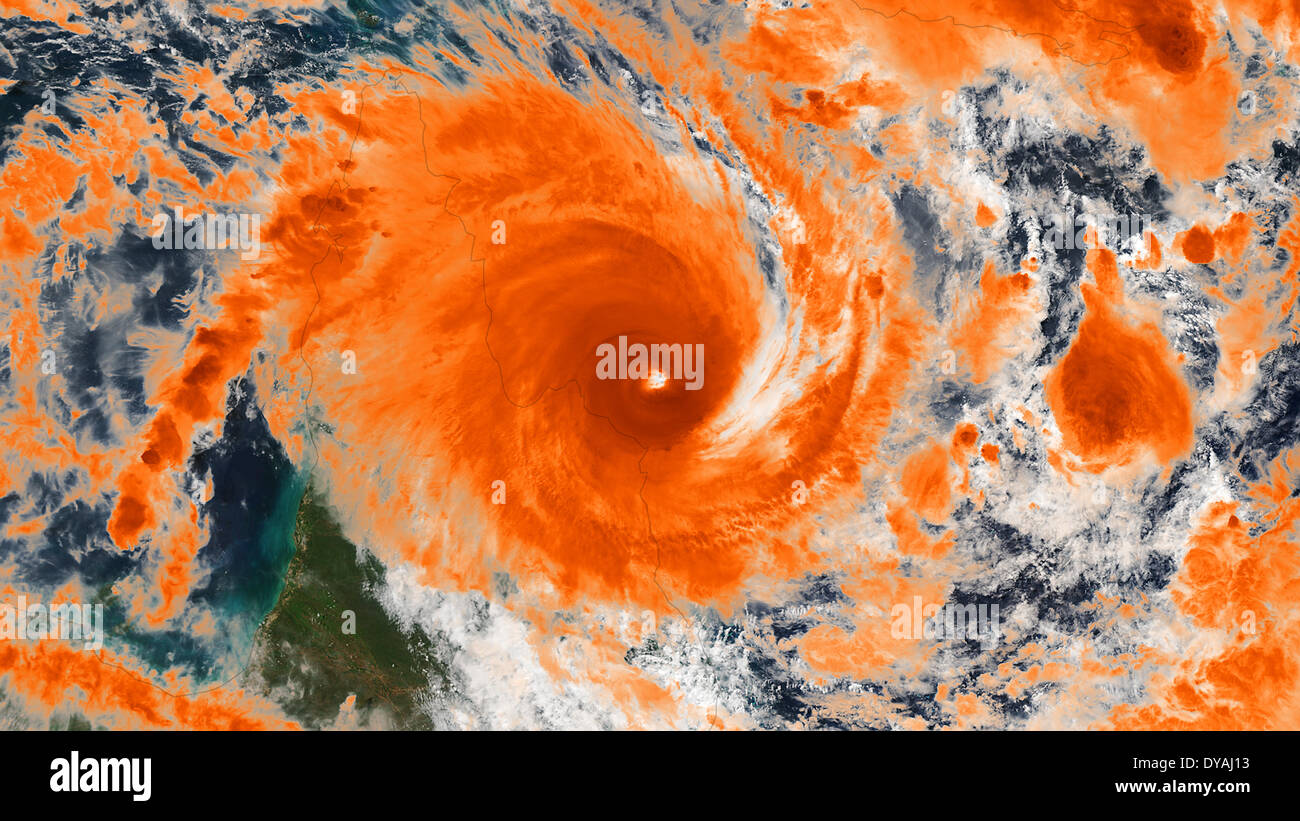 Satellite image was taken by the Suomi NPP satellite VIIRS instrument showing tropical Cyclone Ita April 11, 2014 off shore of Queensland, Australia. The fierce category-three storm hit northern Queensland winds of up to 170km/h (105mph). - Stock Image