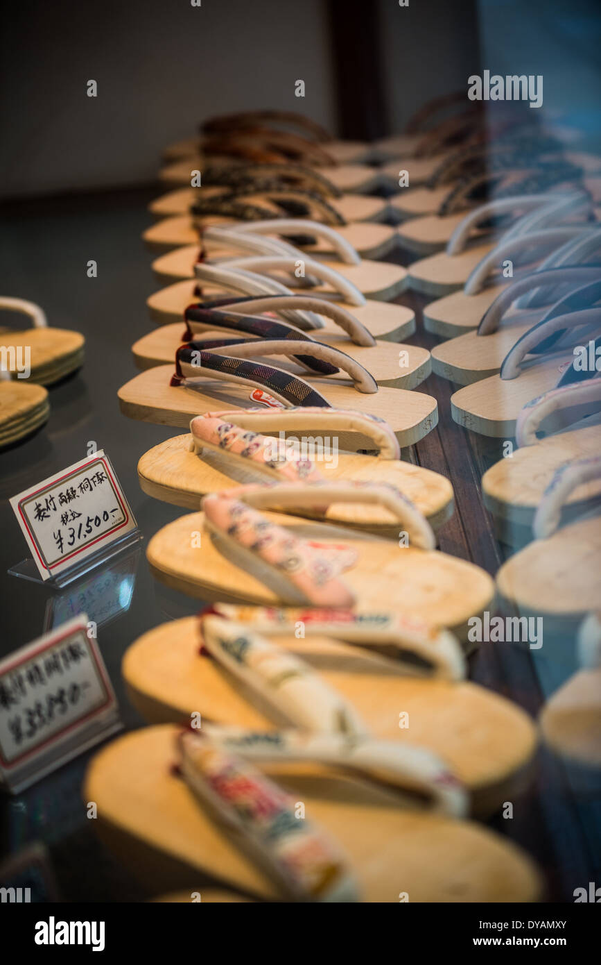 Traditional Japanese footwear known as Geta for sale in Nishiki market, Kyoto. - Stock Image