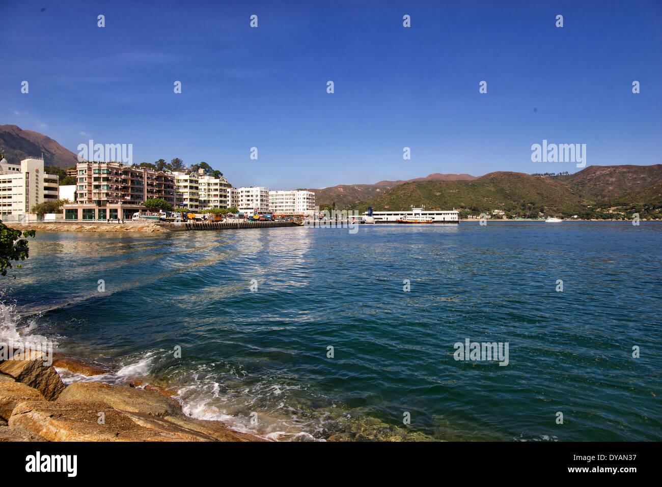 Hong Kong Lantau Island Mui Wo water front - Stock Image