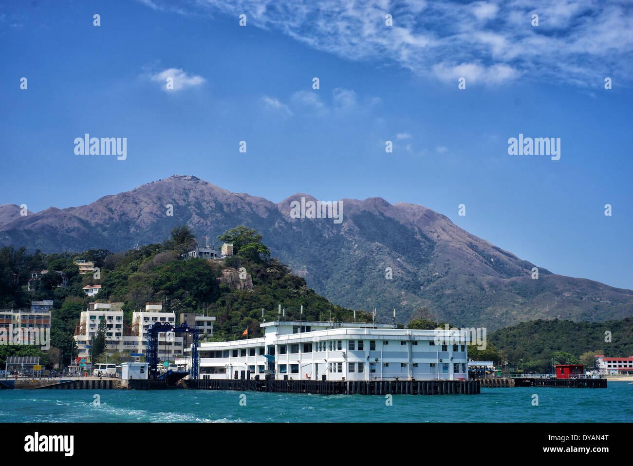 Hong Kong Lantau Island Mui Wo Ferry Pier - Stock Image