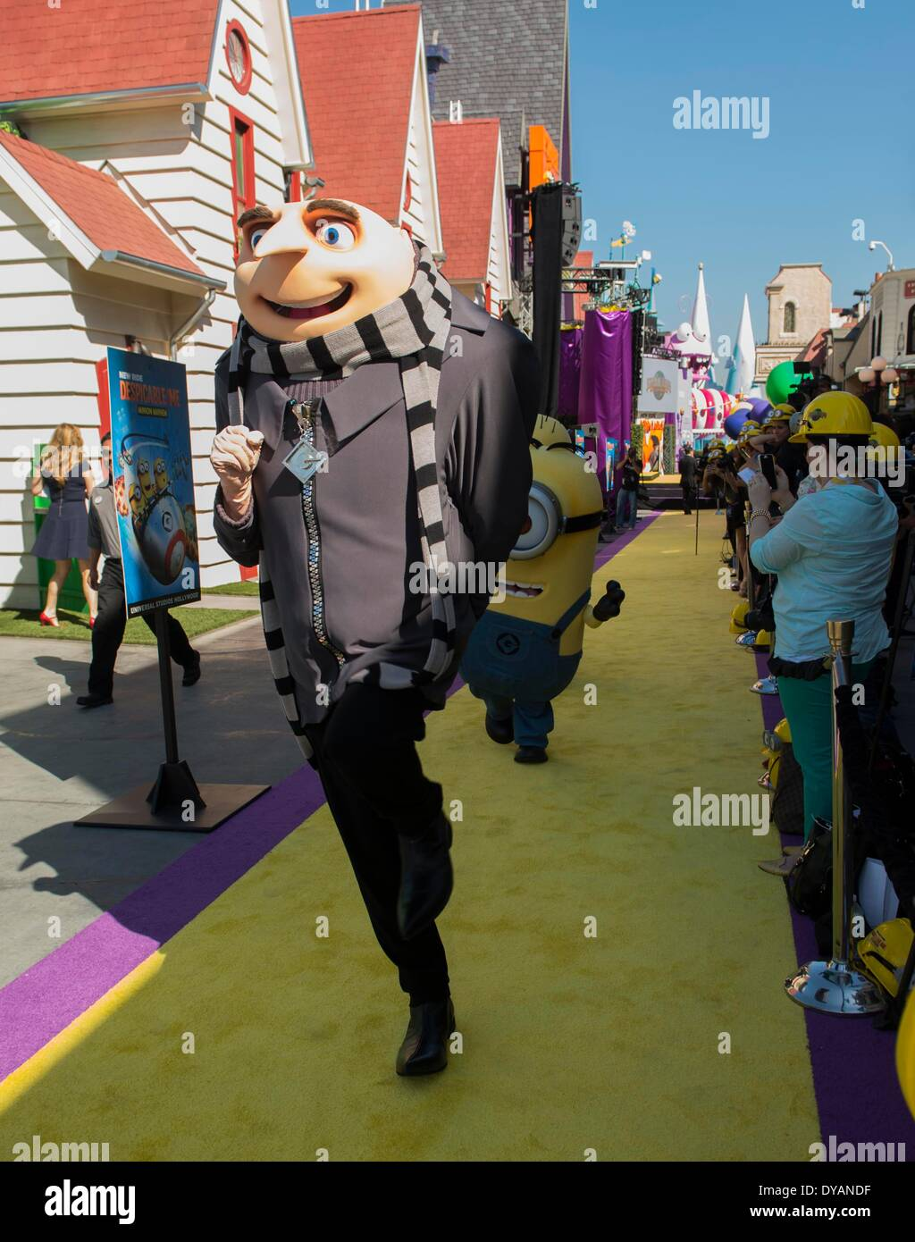 Los Angeles, California, USA. 11th Apr, 2014. Gru and his Minion attends the premiere of new 3D ultra HD digital Stock Photo