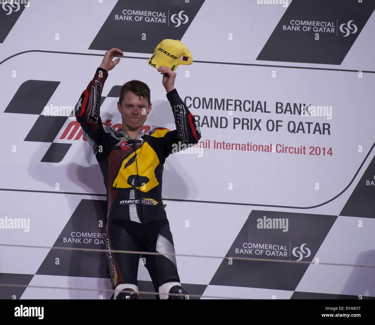 Losail Circuit, Doha, Qatar 23rd March 2014. Esteve Rabat celebrates after winning the Moto2 race - Stock Image