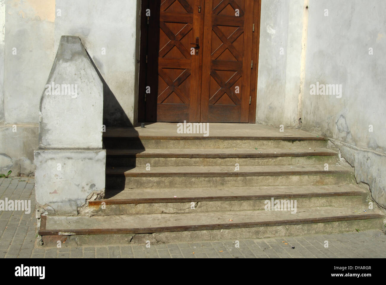 fragment of the old building with stairs - Stock Image
