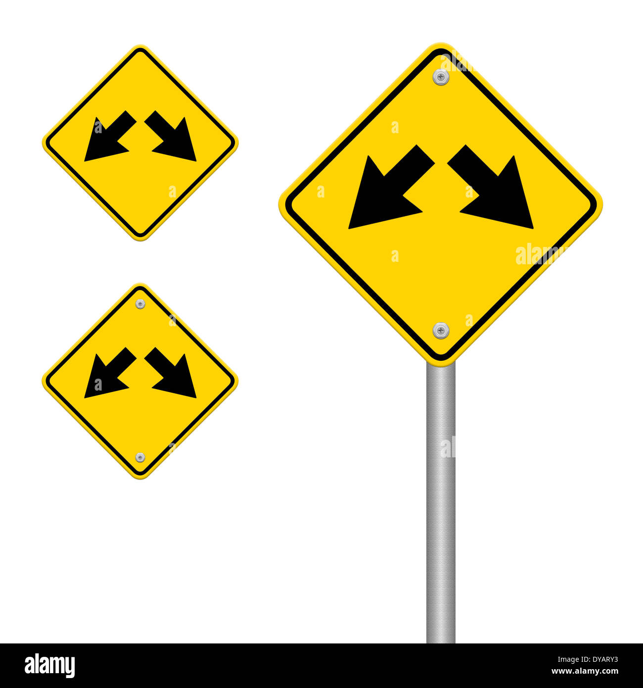 Road Signs Yellow series - Stock Image