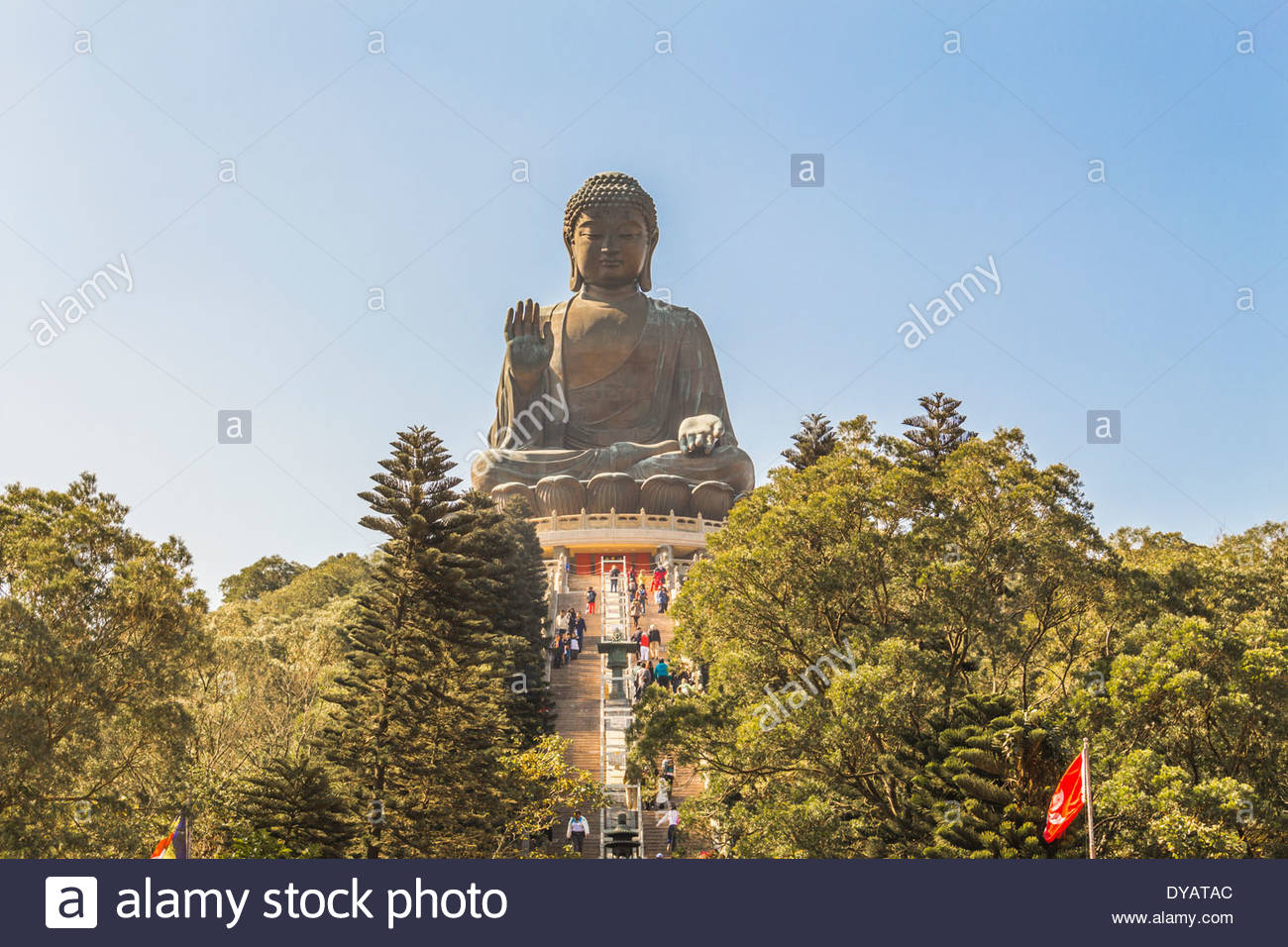 Tian Tan bronze buddha on Lantau Island, Hong Kong. It is 34 metres tall. - Stock Image