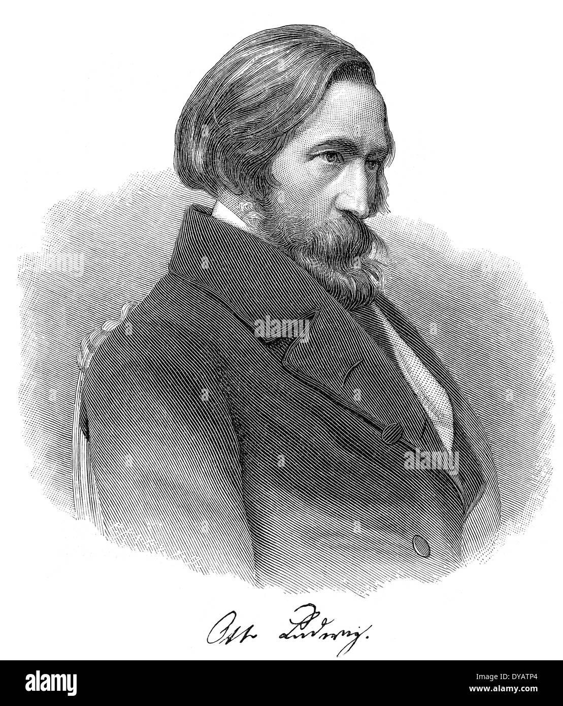 Otto Ludwig, 1813 - 1865, a German dramatist, novelist and critic - Stock Image