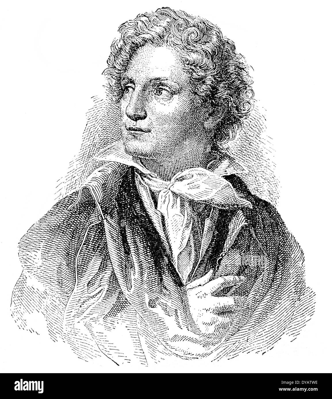 Ferdinand Raimund or Ferdinand Jakob Raimann; 1790 - 1836, an Austrian actor and dramatist, - Stock Image