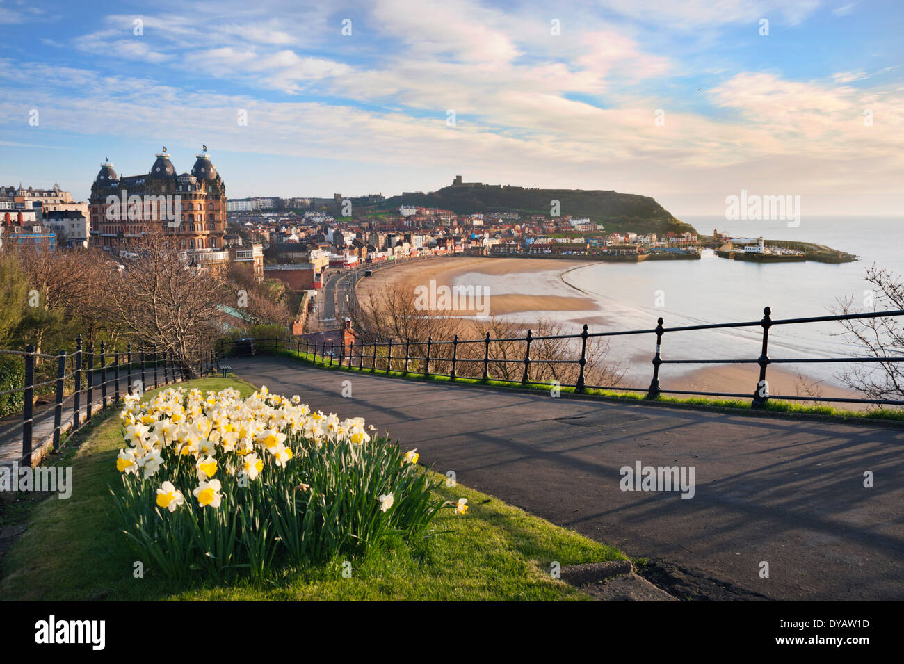 Early morning in Spring over North Bay, showing The Grand Hotel and the Castle, Scarborough, North Yorkshire, UK - Stock Image