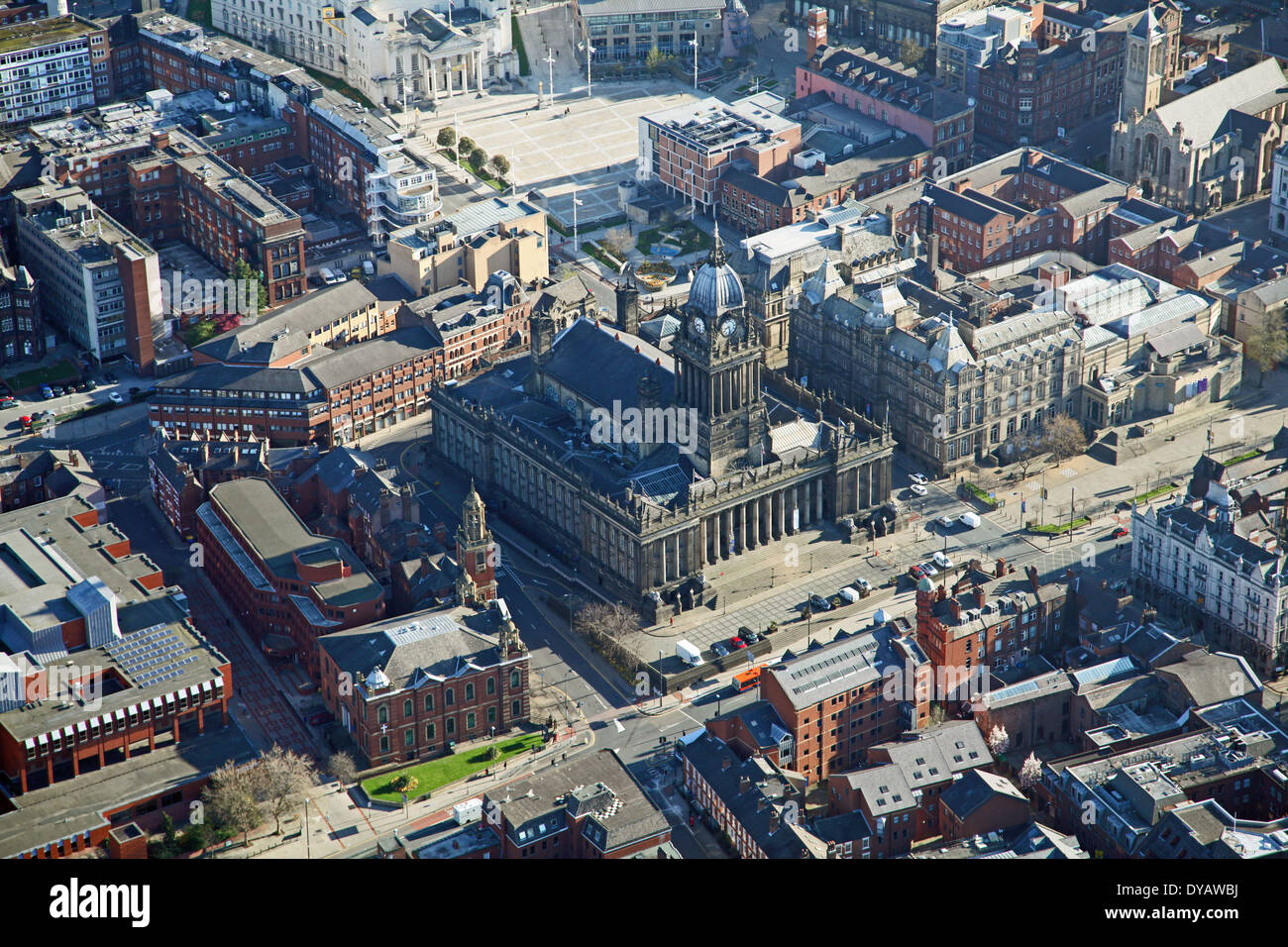 aerial view of Leeds Town Hall in West Yorkshire Stock Photo