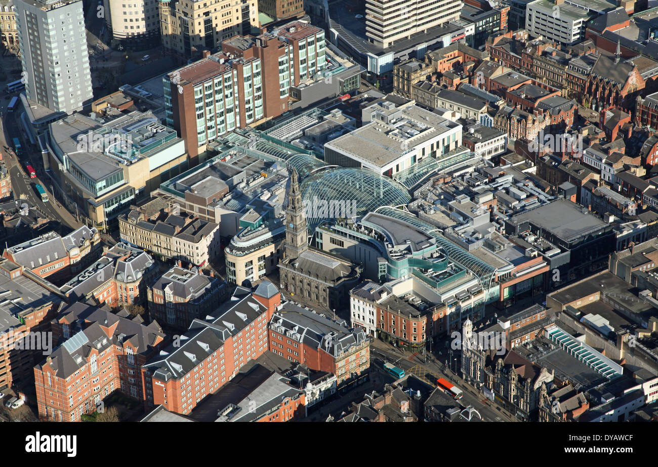 aerial view of Leeds Trinity shopping centre in Leeds, West Yorkshire Stock Photo