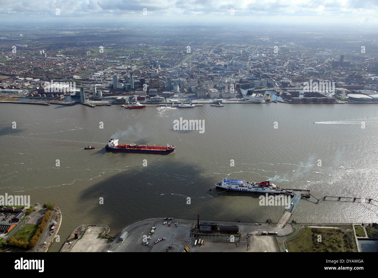 aerial view of Liverpool and The River Mersey with two ships - Stock Image