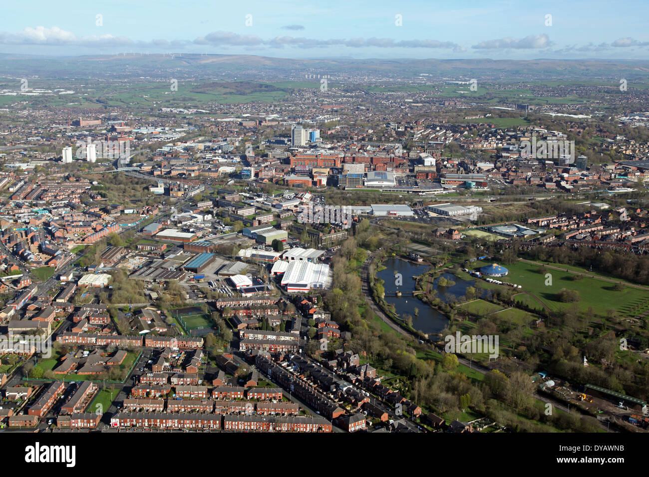 wide aerial view of Oldham and its suburbs in Manchester, Lancashire - Stock Image