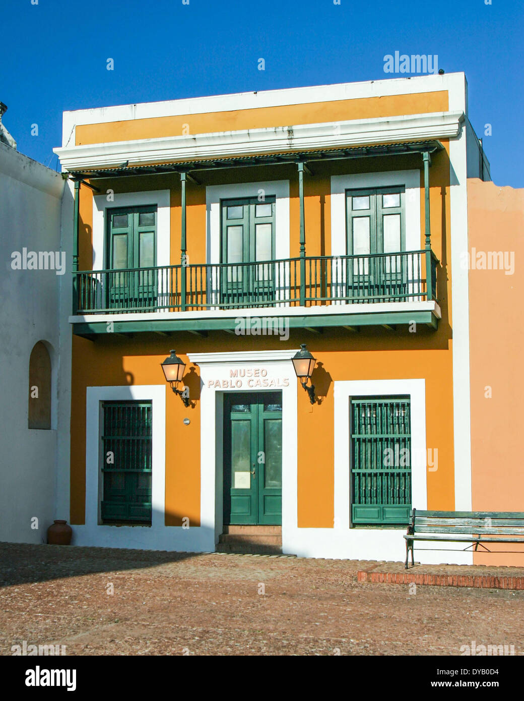 San Juan, Puerto Rico, US. 28th Mar, 2005. The Pablo Casals Museum (Museo Pablo Casals), in the San Jose Plaza in El Viejo San Juan (Old San Juan), honors the famous Spanish cellist and symphony conductor who started a festival to celebrate classical music in San Juan in 1956. In 1958 he formed the Puerto Rico Symphony Orchestra, and in 1959 he set up the Conservatory of Music of Puerto Rico. He died in San Juan in 1973 and was buried in the Puerto Rico National Cemetery in Bayamon, Puerto Rico. © Arnold Drapkin/ZUMAPRESS.com/Alamy Live News - Stock Image