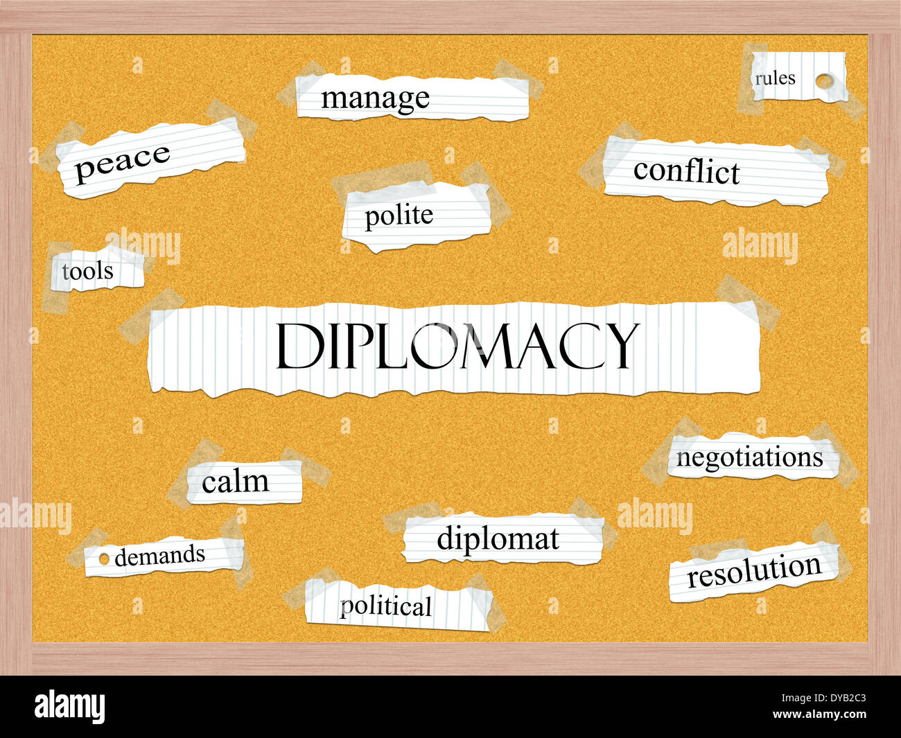 Diplomacy Corkboard Word Concept with great terms such as manage, conflict, peace and more. - Stock Image
