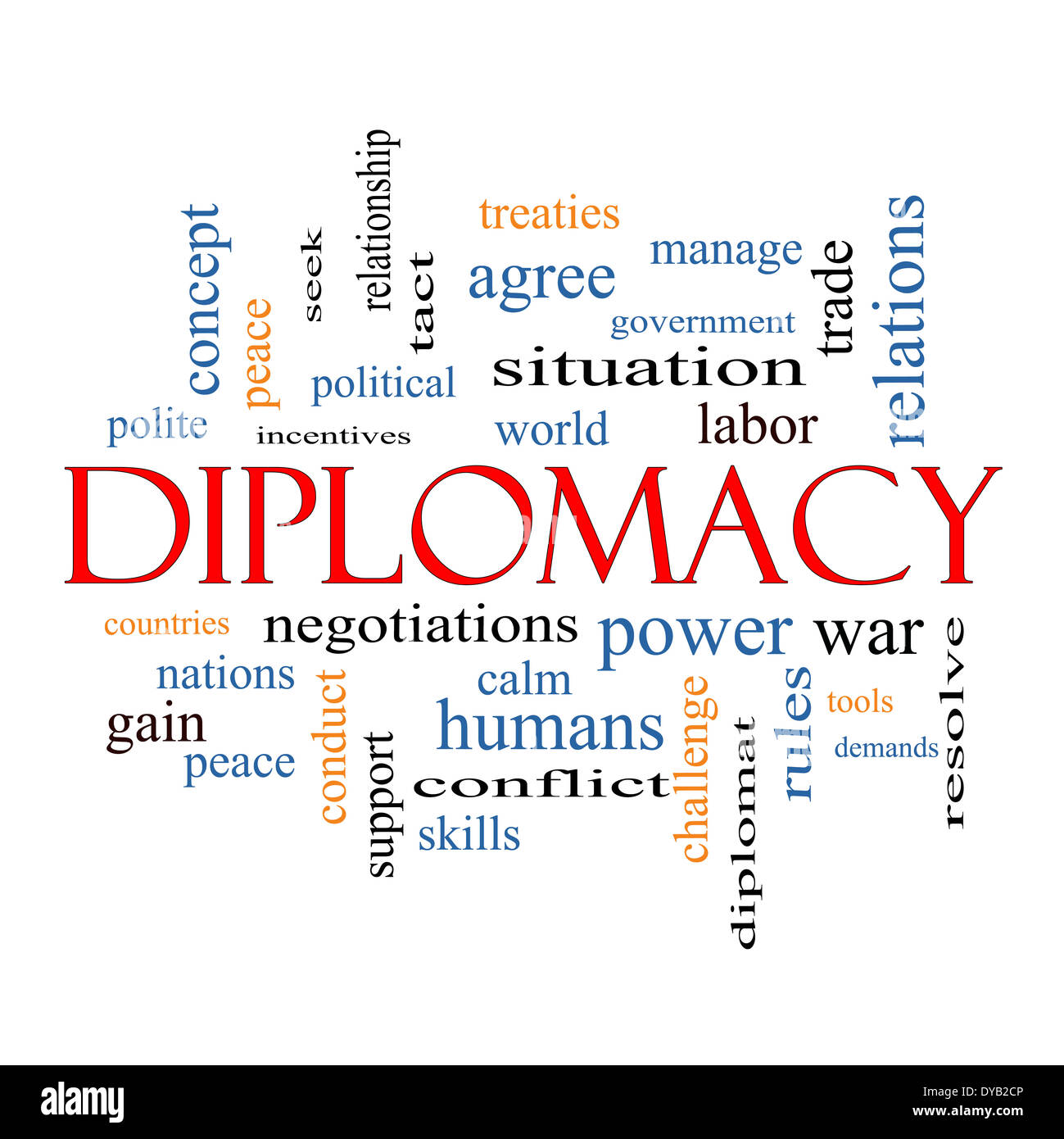 Diplomacy Word Cloud Concept with great terms such as world, peace, negotiations and more. - Stock Image