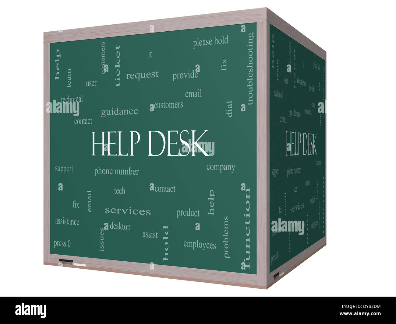 help desk word cloud concept on a 3d cube blackboard with great