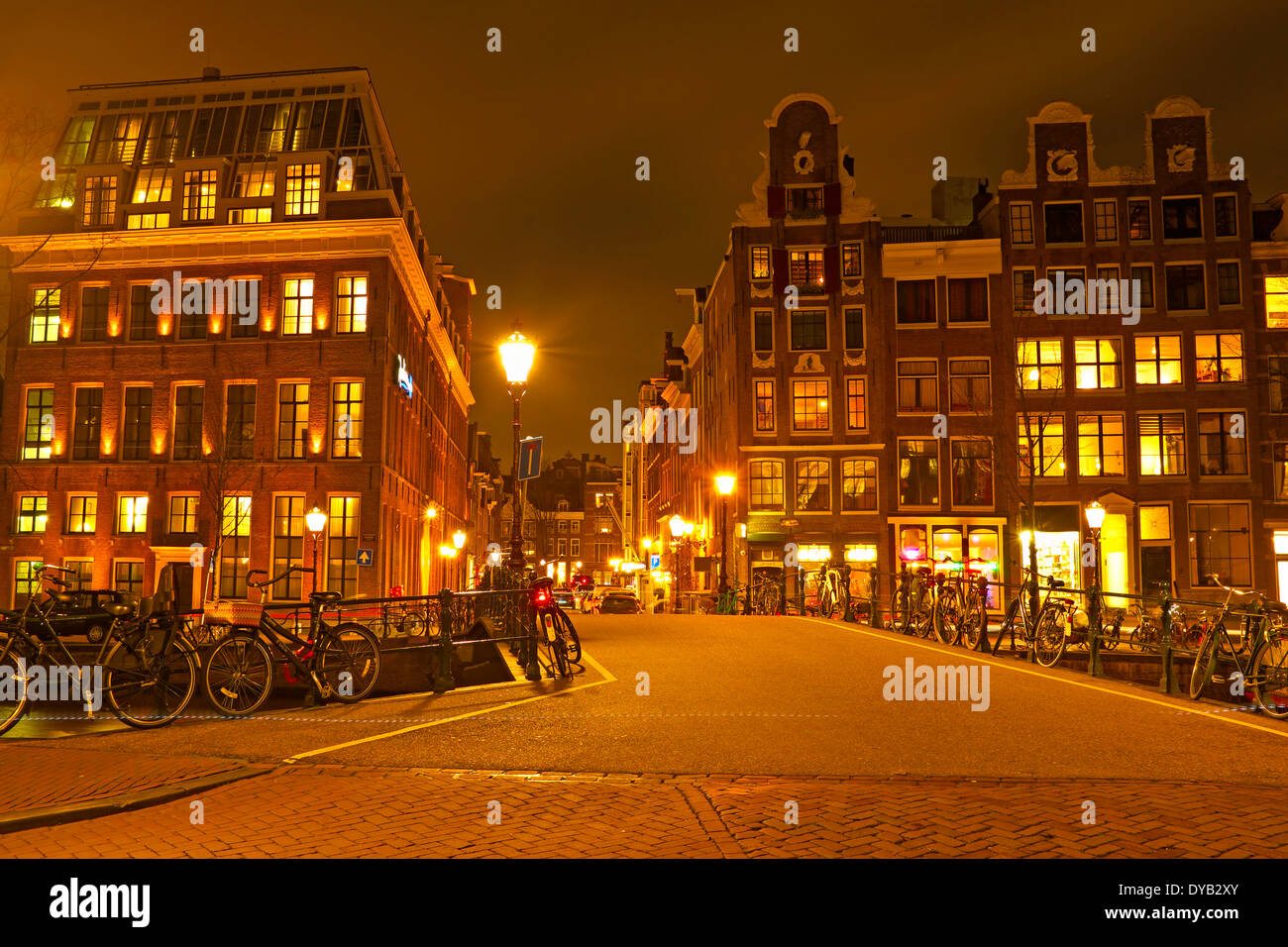 Streetview from Amsterdam in the Netherlands at night Stock Photo