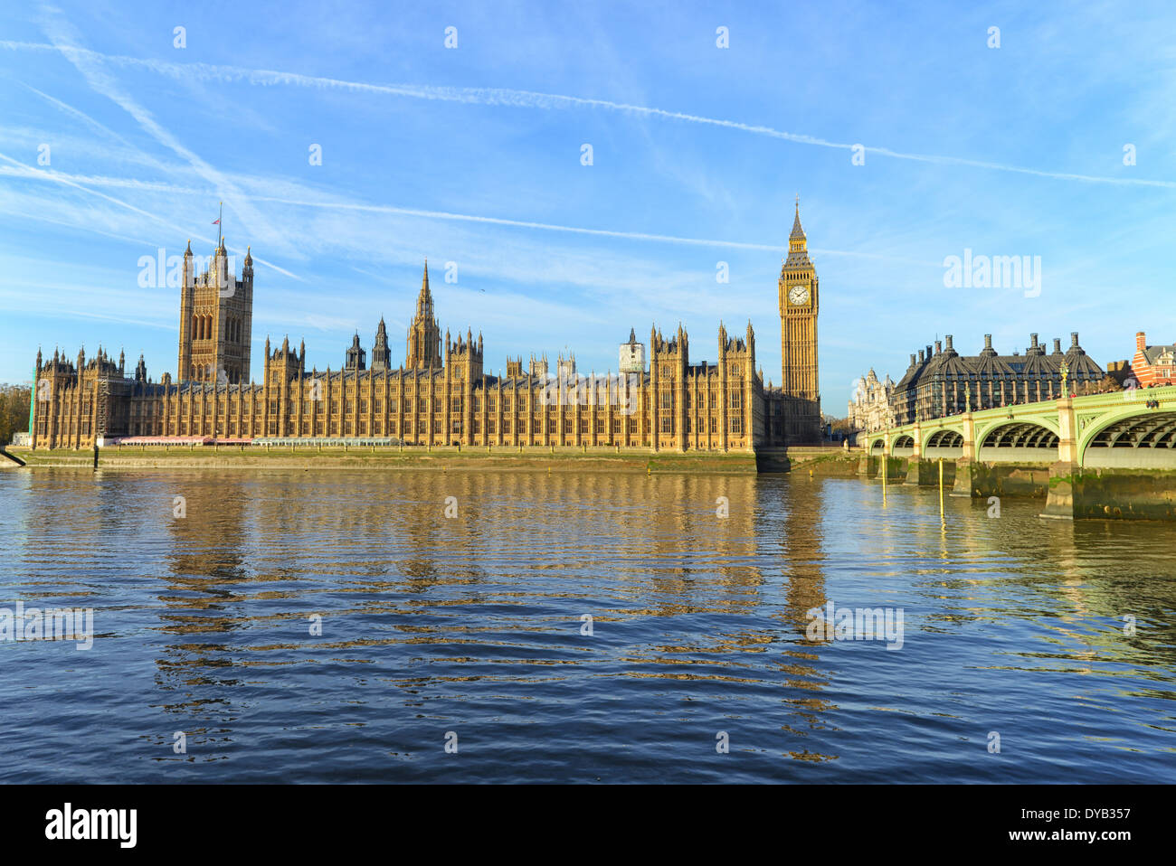 The Palace of Westminster in London, UK - Stock Image