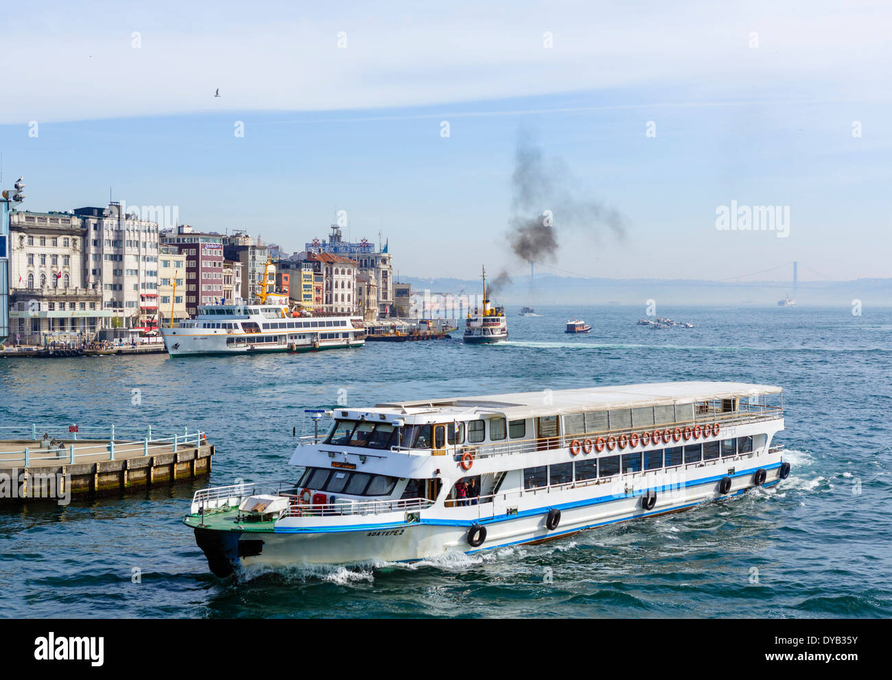 View from the Galata Bridge of boats on the Golden Horn looking towards the Bosphorus, Istanbul, Turkey - Stock Image