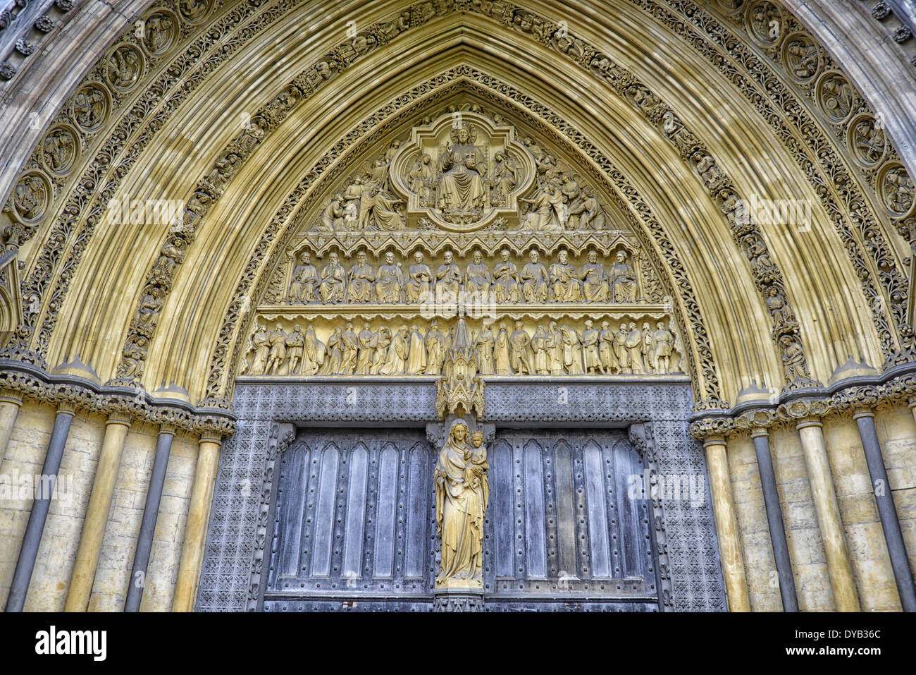 Image of Westminster Abbey North Entrance, London, UK - Stock Image