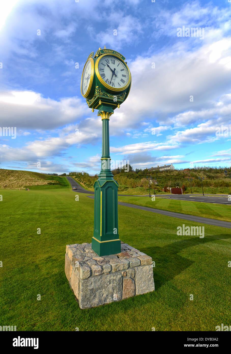 Image of Clock at Trump International Golf Links in Aberdeen, Scotland - Stock Image
