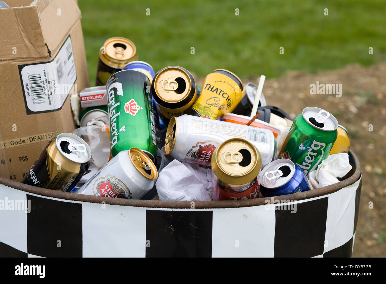 Empty beer and Larger can in a trash can at a festival - Stock Image