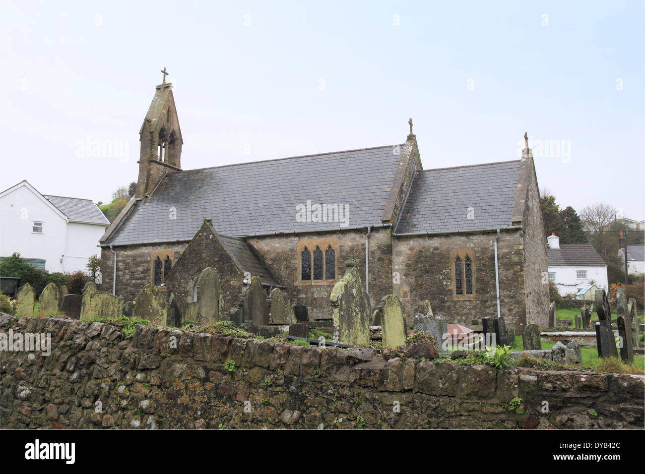 St Cattwg's church, Port Eynon, Gower Peninsula, Wales, Great Britain, United Kingdom, UK, Europe - Stock Image